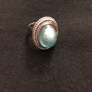 Turquoise colored cabochon silver tone ring size 5